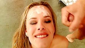 Charming blonde in stockings Jillian Janson worships a bunch of cocks