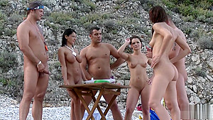 Naughty group sex tournament on the beach part 3