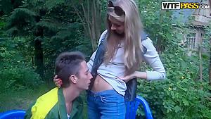 Beautiful girl next door is giving blowjob