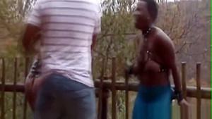 Two Guys Having Fun With Black Girls