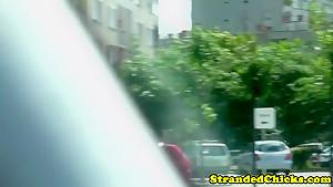 Stranded russian teeny in lingerie slammed